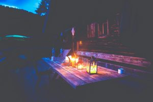 Candle-lit outdoor dining table, Johnson Lumber, Anne Arundel, MD Lumber, Millwork, & Builders' Materials