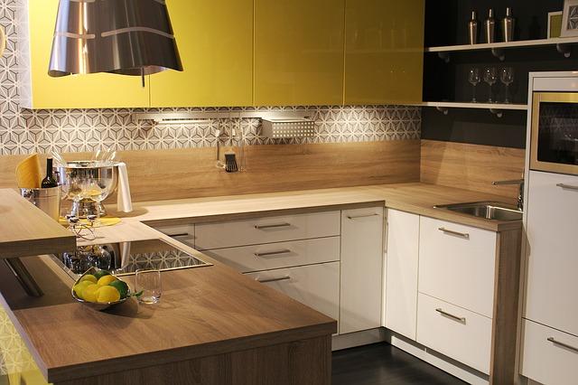 Yellow modern kitchen design, Anne Arundel County, Johnson Lumber