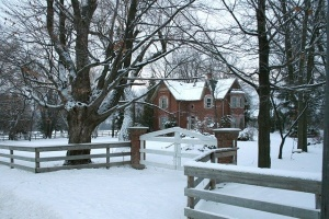 Snow-covered driveway and house, Anne Arundel County, Johnson Lumber