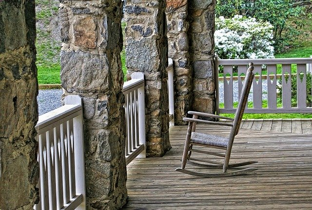 Rocking chair on porch, Anne Arundel County, Johnson Lumber