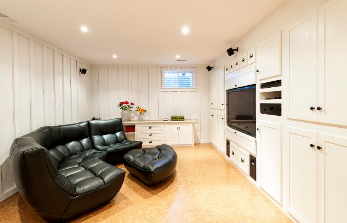White finished basement TV room, Anne Arundel County, Johnson Lumber